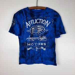 Affliction S Graphic Tee Top American Custom Blue